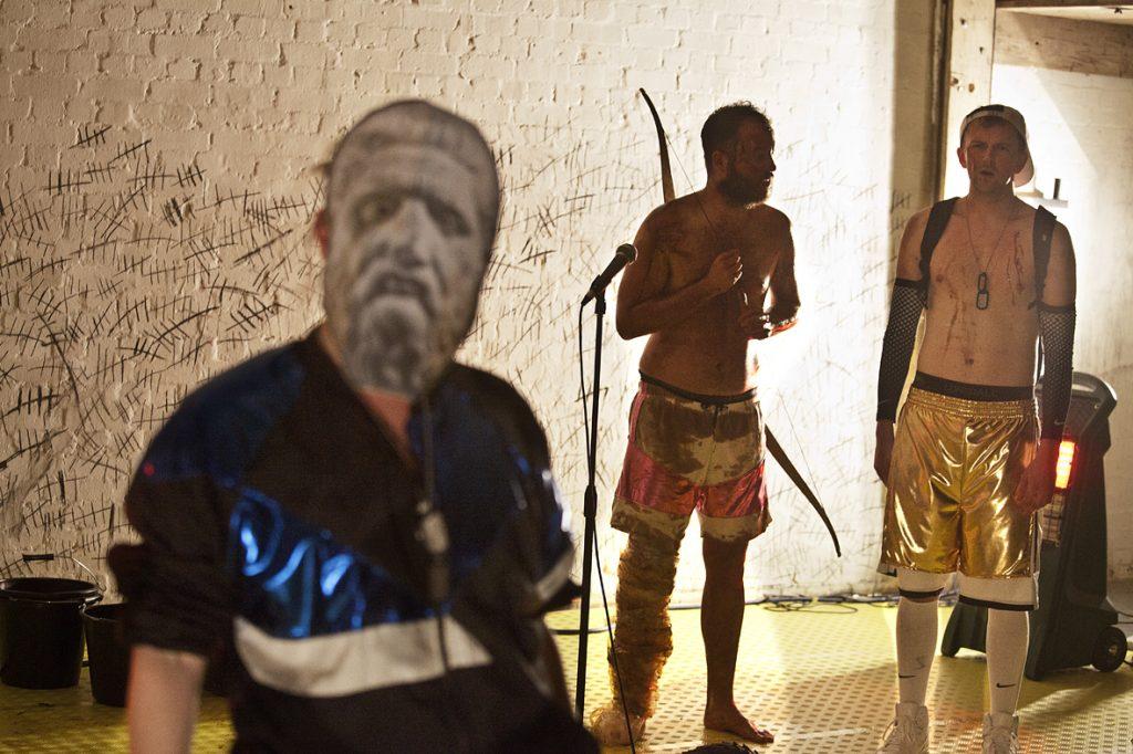 Stinkfoot by Jeff James. Rosie Thomson as Odysseus, Daniel Millar as Philoctetes and Joshua Miles as Neo. credit Bronwen Sharp