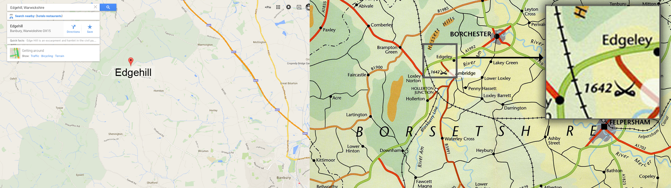 Location of Edgehill vs Battlefield and town of Edgeley