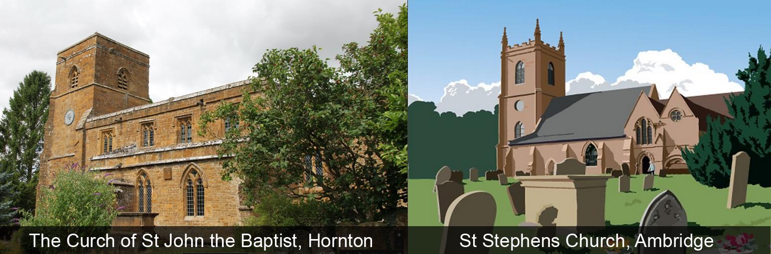The Church of St John The Baptist Hornton vs St Stephens Church Ambrige. Photo via Google Maps, Roger Sweet