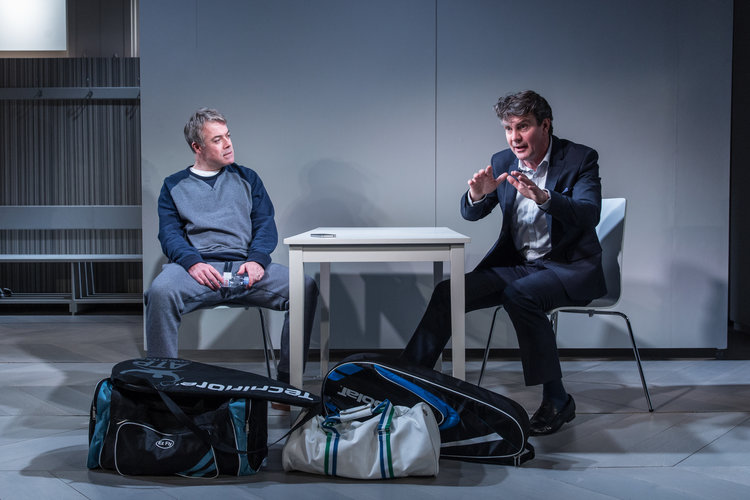 Robert Portal (left) and Alexander Hanson Michel in The Truth (Credit: Marc Brenner)