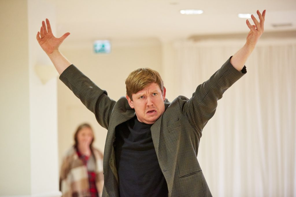 Jamie Baughan (Toad) in rehearsal. Photo Credit: Mark Douet