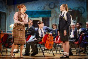 Lara Denning as Miss Elf, Rufus Kampa as Adrian and Rebecca Nardin as Pandora in The Secret Diary of Adrian Mole at the Ambassadors Theatre