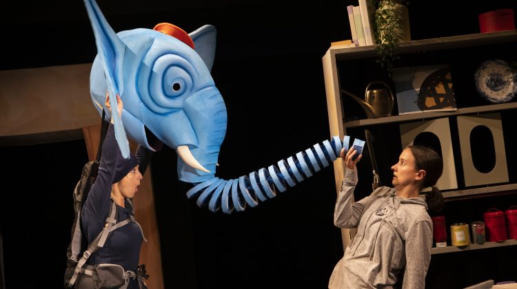 Heidi Goldsmith in the Slightly Annoying Elephant at the Little Angel Theatre.