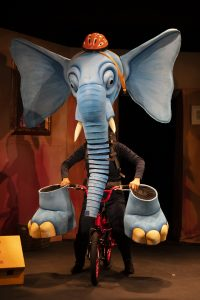 Elaine Hartley in the Slightly Annoying Elephant at the Little Angel Theatre.