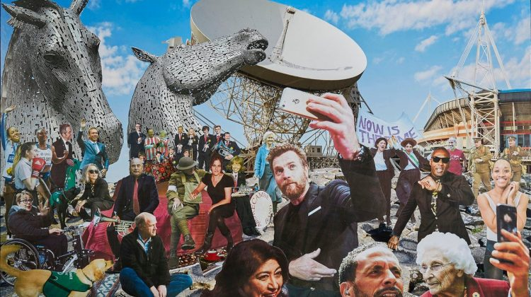 #David Mach has created an amazing collage featuring 25 inspiring places, people and organisations who have been supported by The National Lottery
