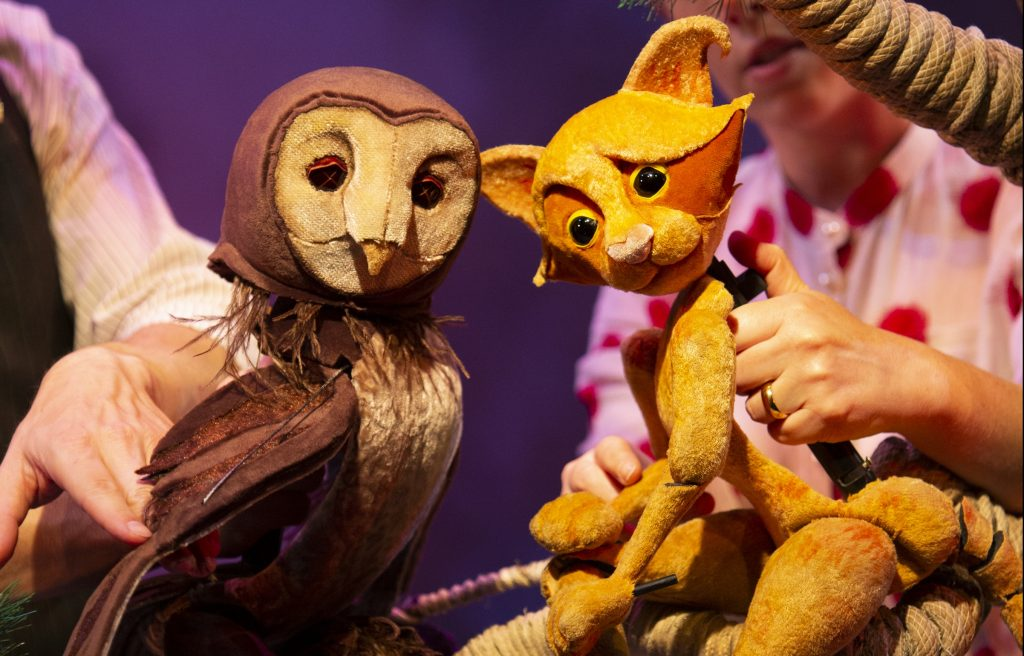 Samuel Dutton and Cass Newby in the Further Adventures of the Owl and the Pussy-cat at the Little Angel Theatre