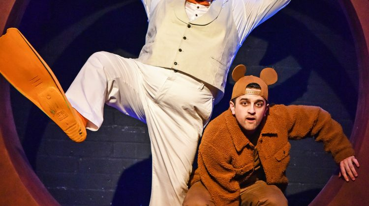Samuel Buttery as Duck and Varun Raj as Mouse at the Unicorn Theatre