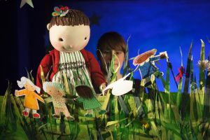 Rosie and her paper dolls at the Little Angel Theatre