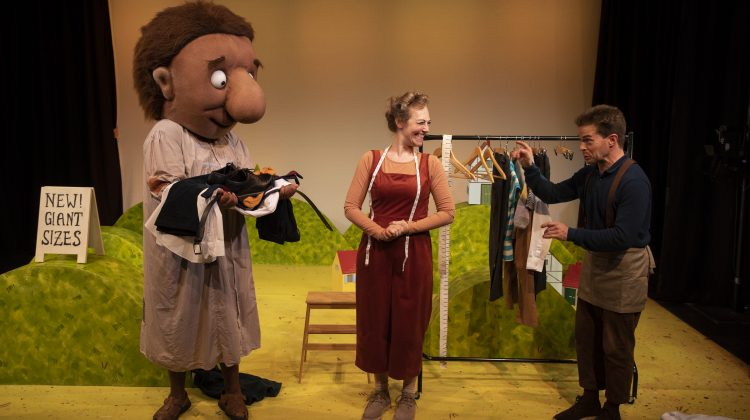 Duane Gooden, Lizzie Wort and Gilbert Taylor in The Smartest Giant in Town at Little Angel Theatre. Photo by Ellie Kurttz